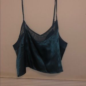 Teal satin crop top